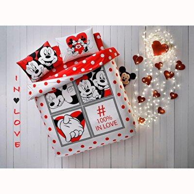 Resim Taç Disney Minnie&Mickey Dotty Çift Kişilik Nevresim Takımı