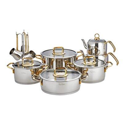 Resim Pierre Cardin Saturn Gold 16 Parça Çelik Tencere Setleri