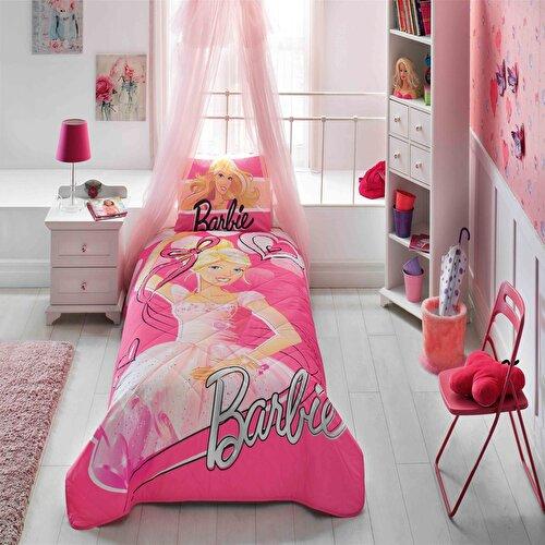 Resim Taç Barbie Ballerina Tek Kişilik Yatak Örtüsü