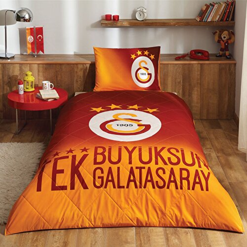 Resim Lisanslı Galatasaray 4. Yıldız Tek Kişilik Yatak Örtüsü