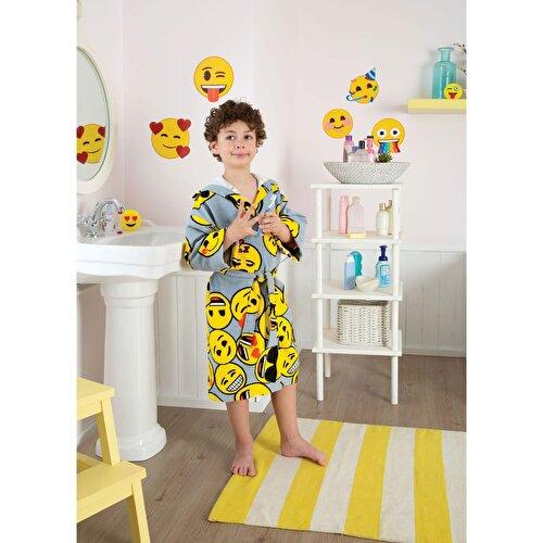 Resim Taç Emoji Pamuk Çocuk Bornozu Renkli