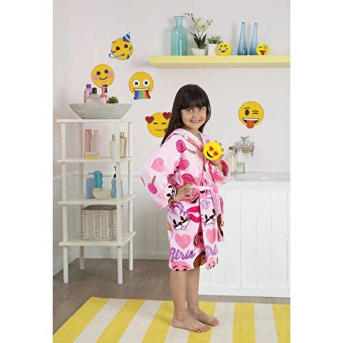 Resim Taç Emoji Çocuk Bornoz 6-8 Yaş