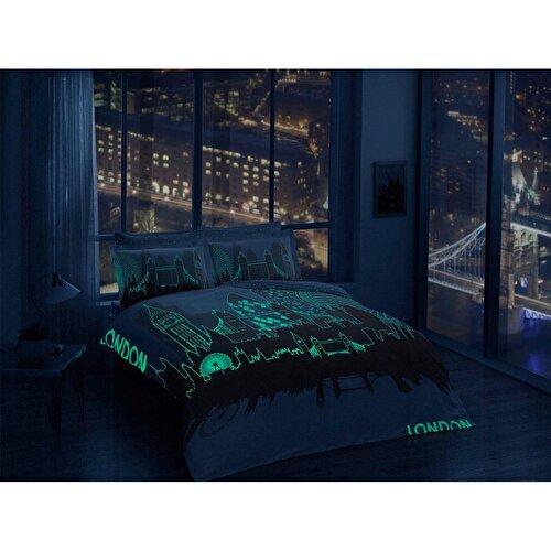 Resim Taç London Saten Çift Kişilik Glow Nevresim Takımı Gold