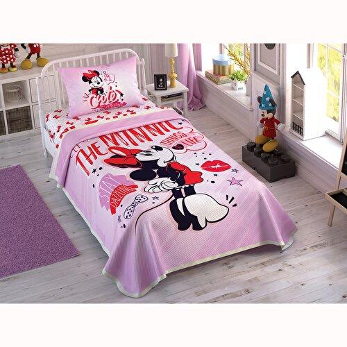 Resim Taç Disney Minnie Pink Heart Tek Kişilik Pike Takımı